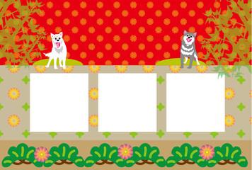 二匹の犬の和風ポップな写真フレームの葉書テンプレート
