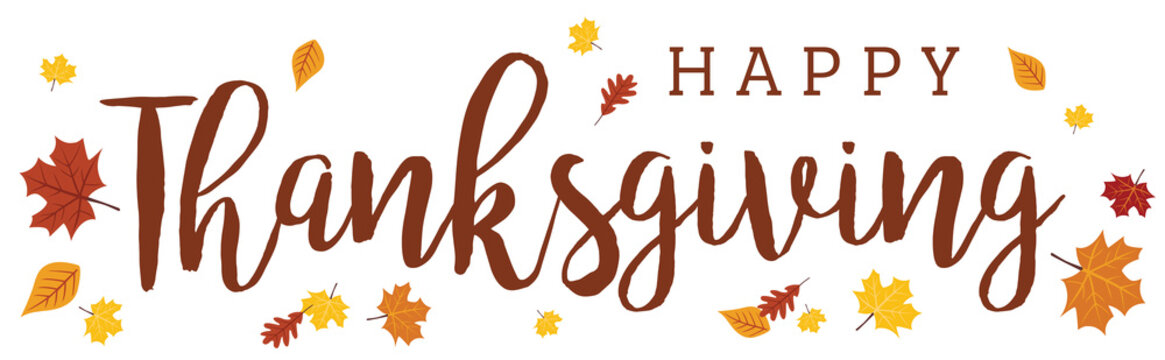 Happy Thanksgiving Wide Banner on White Background 1