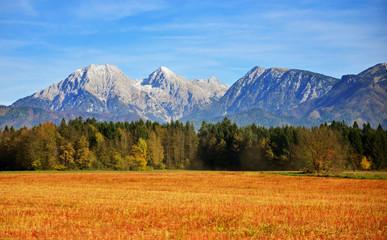 View on Kamnik Savinja alps in Slovenia