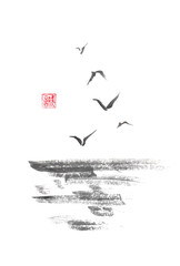 Flying sea gulls Japanese style original sumi-e ink painting.