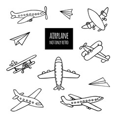 Set of airplanes hand-drawn