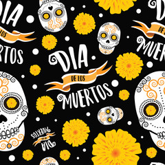 Dia de los Muertos seamless pattern illustration. EPS 10 Vector.