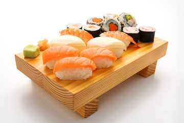 salmon sushi set. Japanese food
