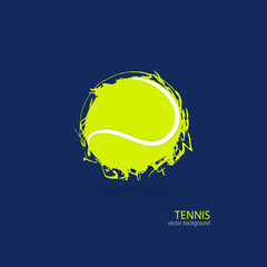 Vector tennis ball. Design print for T-shirts. Element sports for the poster, banner, flyer. Hand drawing, brush element, isolated on a wooden background.