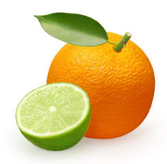 Orange fruit with green leaf and half of lime