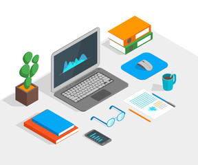 Workspace Concept 3d Isometric View. Vector