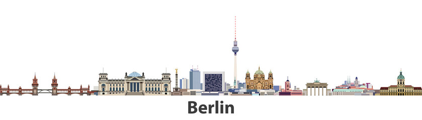 Fototapete - Berlin vector city skyline