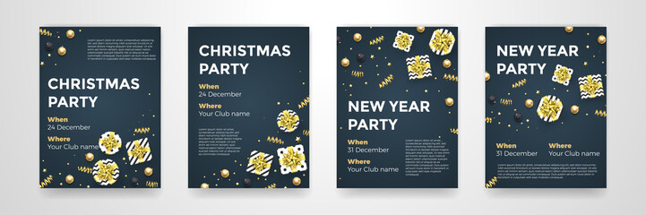 Christmas, New Year winter holiday party posters design template of golden glittering Xmas decorations. Vector confetti and present in gold star ribbon bow for invitation card black background