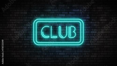 Club Neon Light on Brick Wall  Night Bar Blinking Neon Sign  Motion