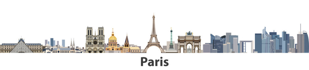 Fototapete - Paris vector city skyline