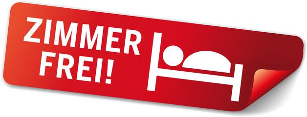 roter Sticker Zimmer Frei mit Piktogramm Bett