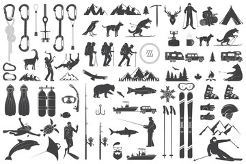 Mountaineering, hiking, climbing, fishing, skiing and other adventure icons.