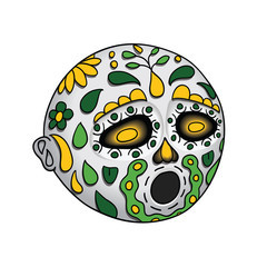 Halloween. Emoji Hushed. Day of the Dead. Dia de Los Muertos. Vector Illustration