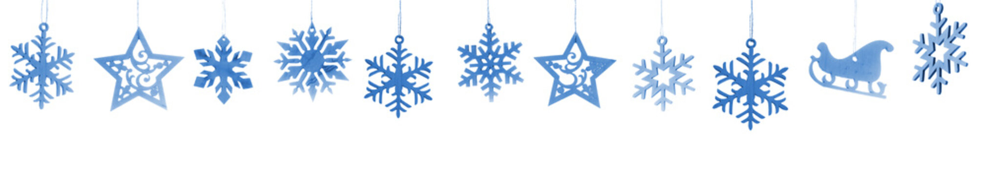 wooden snowflakes and stars  isolated on white background