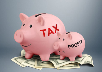 Piggy bank on dollars, tax and profit concept