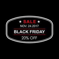 20% off. Black Friday discount banner. Sale tag or stamp. Special offer, flyer, promo design element. Vector illustration.
