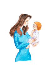 Young mom lulling her baby to sleep. Hand-drawn cartoon mother with infant