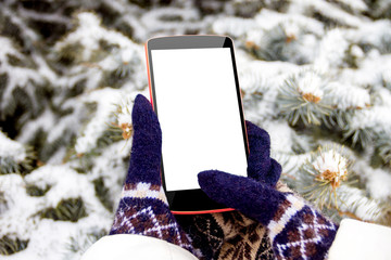 Female / woman / girl hand in mittens with mockup phone / smartphone in winter on fir tree background