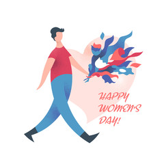 Man with flowers going to handle bouquet. Greeting card, vector illustration.