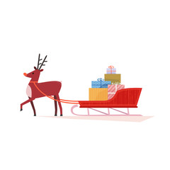 Santa Sleigh and deer icon. Cheerful Reindeer and Christmas snow sledge, gifts present boxes. Flat cartoon colorful style. Design element for winter holiday season new year event. Vector illustration