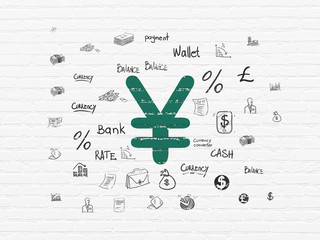 Money concept: Painted green Yen icon on White Brick wall background with  Hand Drawn Finance Icons