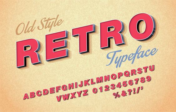 Vector of retro font and alphabet. 3d Italic style