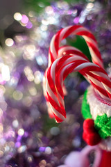 Beautiful christmas candy canes as christmas background.