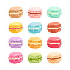 Macarons vector set