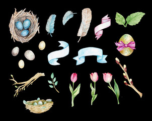 Easter hand painted watercolor, nest with eggs illustration, feathers, tulips, ribbons, banners, willow, leaves, Easter collection, spring