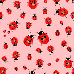 Seamless vector pattern with insects, chaotic background with bright close-up ladybugs, over light backdrop