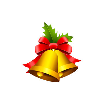 Golden Christmas bells with red bow, tinsel and Holly berries isolated on white background, illustration.