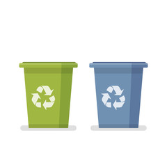 Dumpster. Capacity for household waste. Garbage processing. Two garbage containers in a flat cartoon style. Vector illustration isolated on white background.