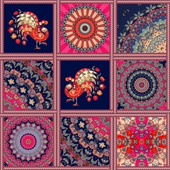 Square rug with peacock, flower mandala, ornamental pattern and zigzag frame in patchwork style. Indian, turkish, persian motives.