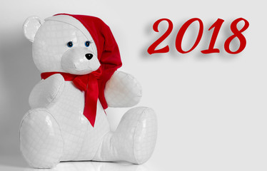 beautiful toy bear wishes Merry Christmas and Happy New Year, 2018