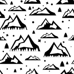 Travel vector illustration with cartoon seamless pattern. Black and white doodle style. Illustration with mountain peaks end graphic elements