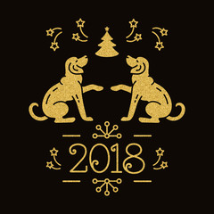 Dog Christmas, Year of the Dog 2018 Chinese Zodiac. New Year Card, Yellow golden dogs, snowflakes, christmas tree, fireworks on a dark background. Vector illustration