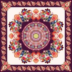 Bright bandana print with fairy peacocks, beautiful flowers and ornamental paisley frame. Indian, persian motives.