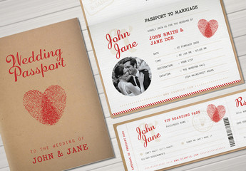 Passport Wedding Invitation Set 2