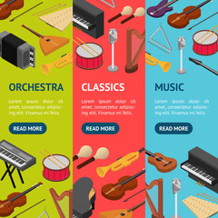 Music Instruments Banner Vecrtical Set Set Isometric View. Vector