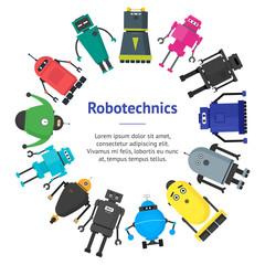 Cartoon Cute Toy Robots Banner Card Circle. Vector