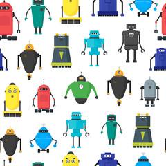 Cartoon Cute Toy Robots Background Pattern. Vector