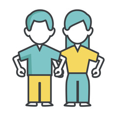 Woman and man couple icon vector illustration graphic design