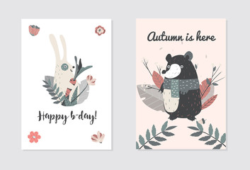 Happy Birthday with Cute Animals, Bear and Rabbit . Vector illustaration for you project.