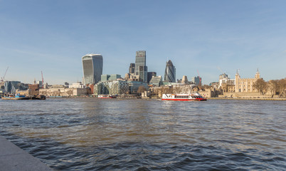 London Skyline of the Tower of London and the City of London taken from the South side of the River Thames.
