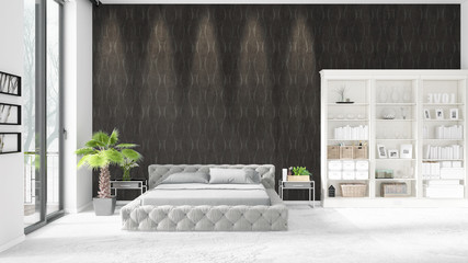 Scene with brand new interior with white rack and modern bed. 3D illustration and 3D rendering. Horizontal arrangement.