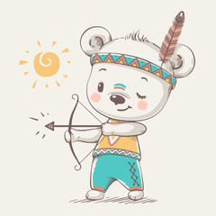 Cute bear Indian with bow and arrow cartoon hand drawn vector illustration. Can be used for baby t-shirt print, fashion print design, kids wear, baby shower celebration greeting and invitation card.