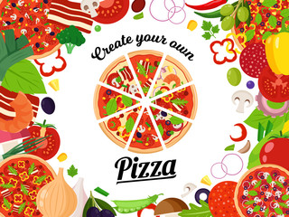 Vector pizza illustration with slices and many ingredients