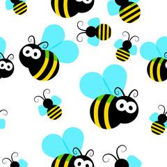Bee seamless pattern.Honey flying bee