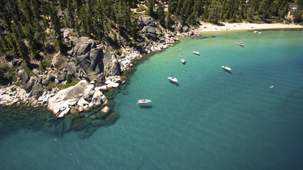 Aerial view of boats near shore of Lake Tahoe, California, USA