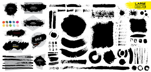 Big collection of black paint, ink brush strokes, brushes, lines, grungy. Dirty artistic design elements, boxes, frames. Vector illustration. Isolated on white background. Freehand drawing.